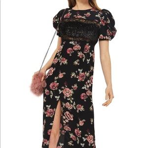 TOP SHOP Sequined Floral Puff Sleeve Midi Dress